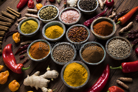spices, on, wooden, bowl, background - 25120680