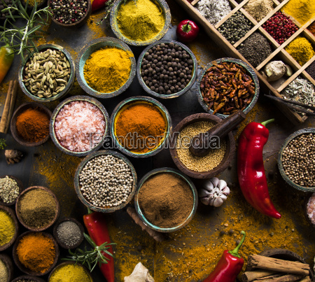 spices, on, wooden, bowl, background - 25120752