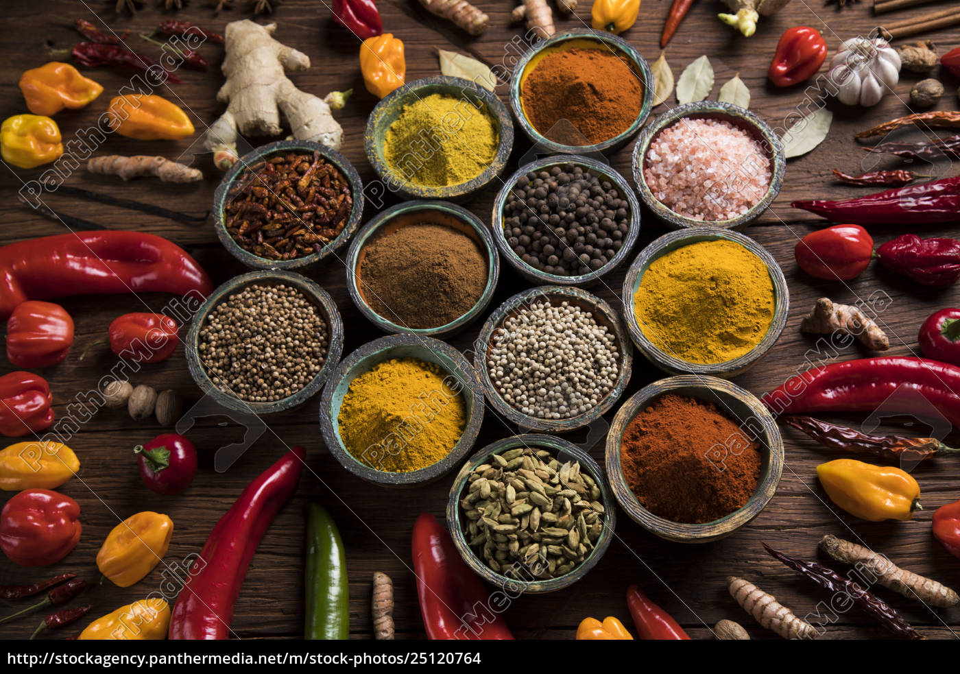spices, on, wooden, bowl, background - 25120764