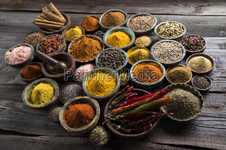 wooden, bowl, , hot, spices - 25120660