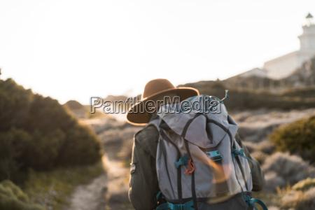 italy sardinia back view of hiker
