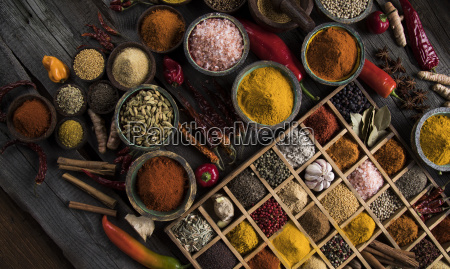 assorted, spices, in, a, wooden, box - 25121846