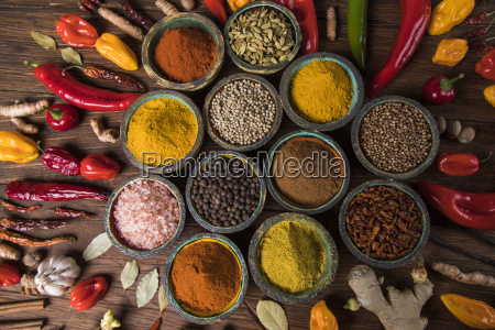 spices, and, herbs, and, wooden, bowl - 25122014