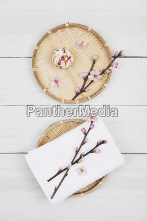 cherry blossom soap ball and towel