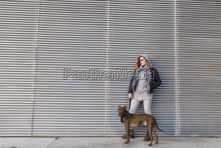 cool woman with her dog