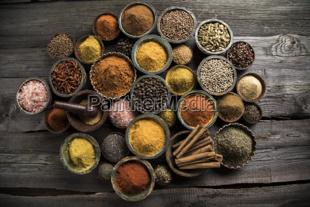 spices, and, herbs, and, wooden, bowl - 25123002