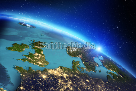 planet earth geography 3d rendering
