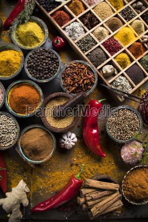 spice, still, life, , wooden, bowl - 25124614