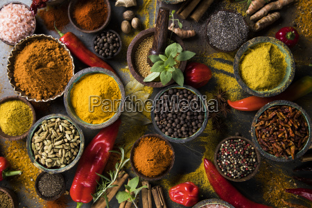 spices, and, herbs, and, wooden, bowl - 25124498