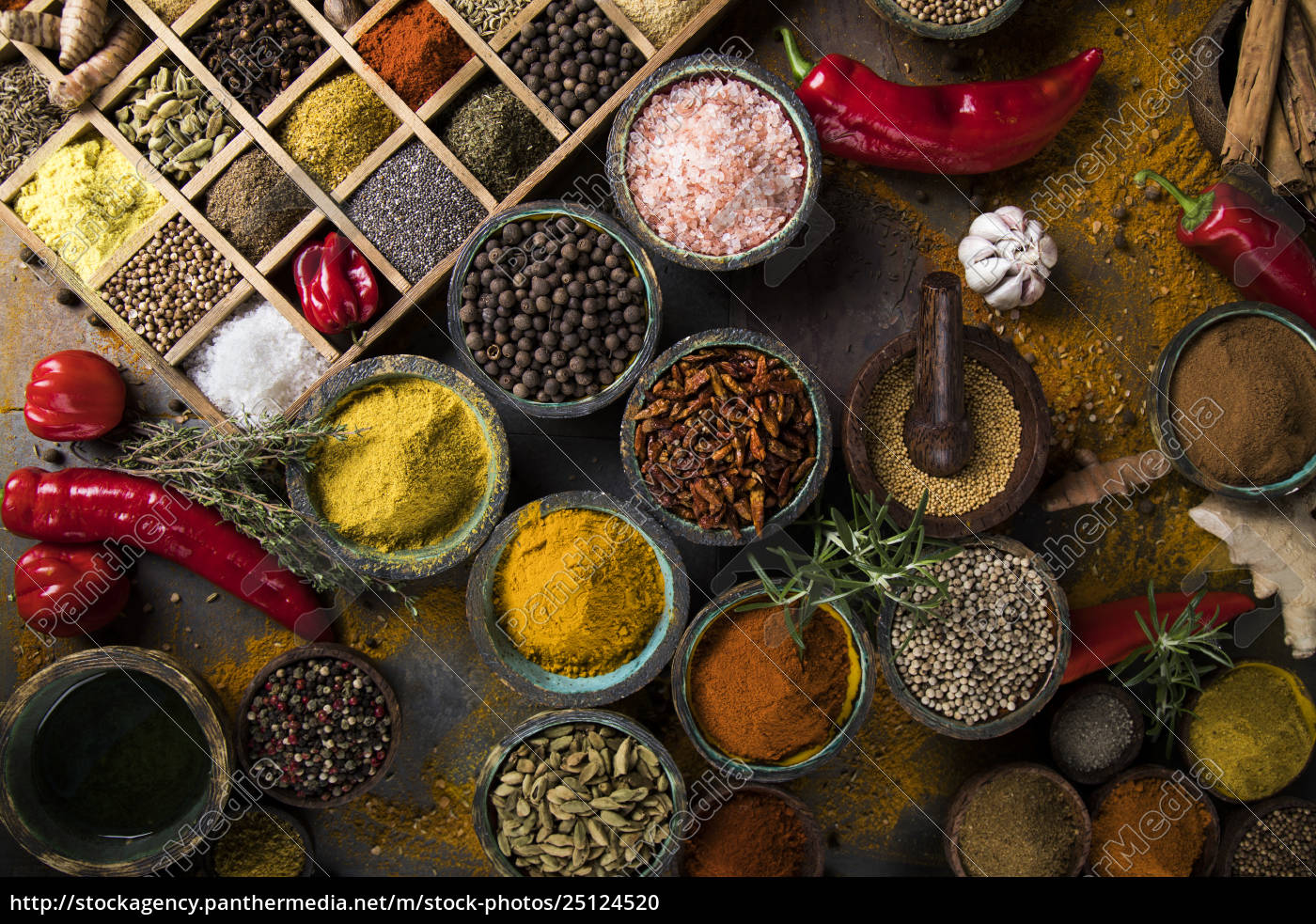 spices, on, wooden, bowl, background - 25124520