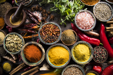 wooden, bowl, , hot, spices - 25124424