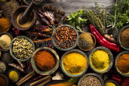 wooden, bowl, , hot, spices - 25124434