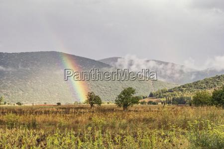 greece peloponnese landscape and rainbow