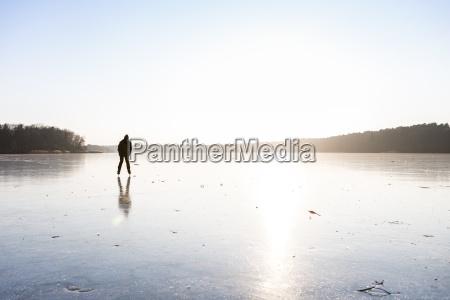 germany brandenburg lake straussee frozen lake