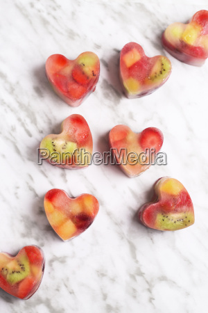 homemade heart shaped ice cubes on