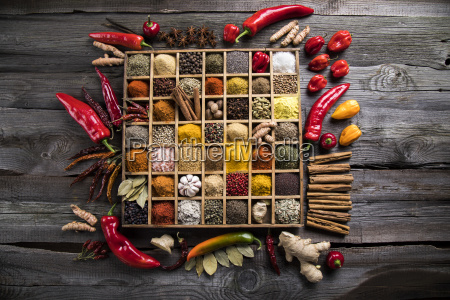 assorted, spices, in, a, wooden, box - 25126160