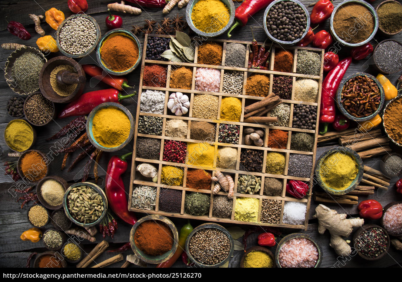 assorted, spices, in, a, wooden, box - 25126270