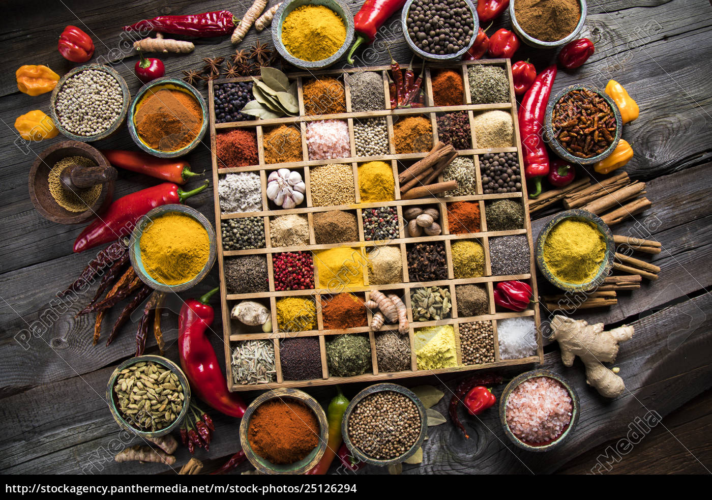 herbs, and, spices, on, a, wooden - 25126294