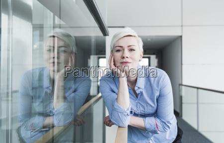 portrait of woman on office floor