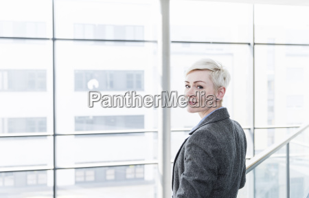 portrait of businesswoman in office building