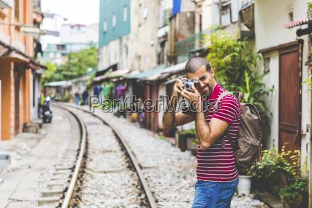 vietnam hanoi man in the city