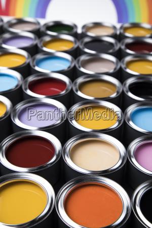 colorful, paint, cans, set - 25130230