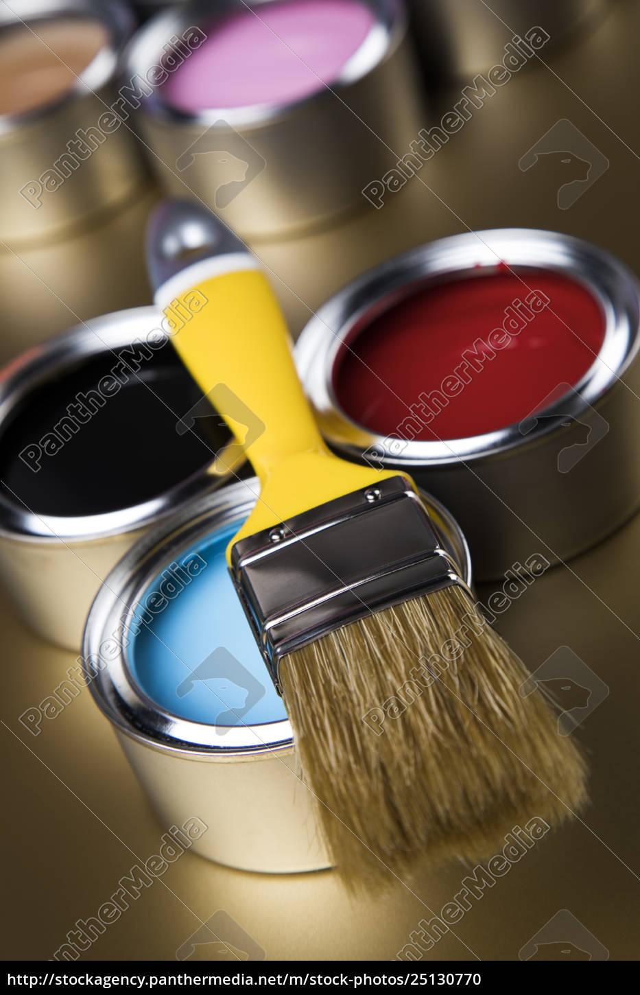 paint, brush, , tin, can, and, color - 25130770