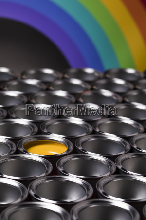 rainbow, , tin, metal, cans, with, color - 25130826