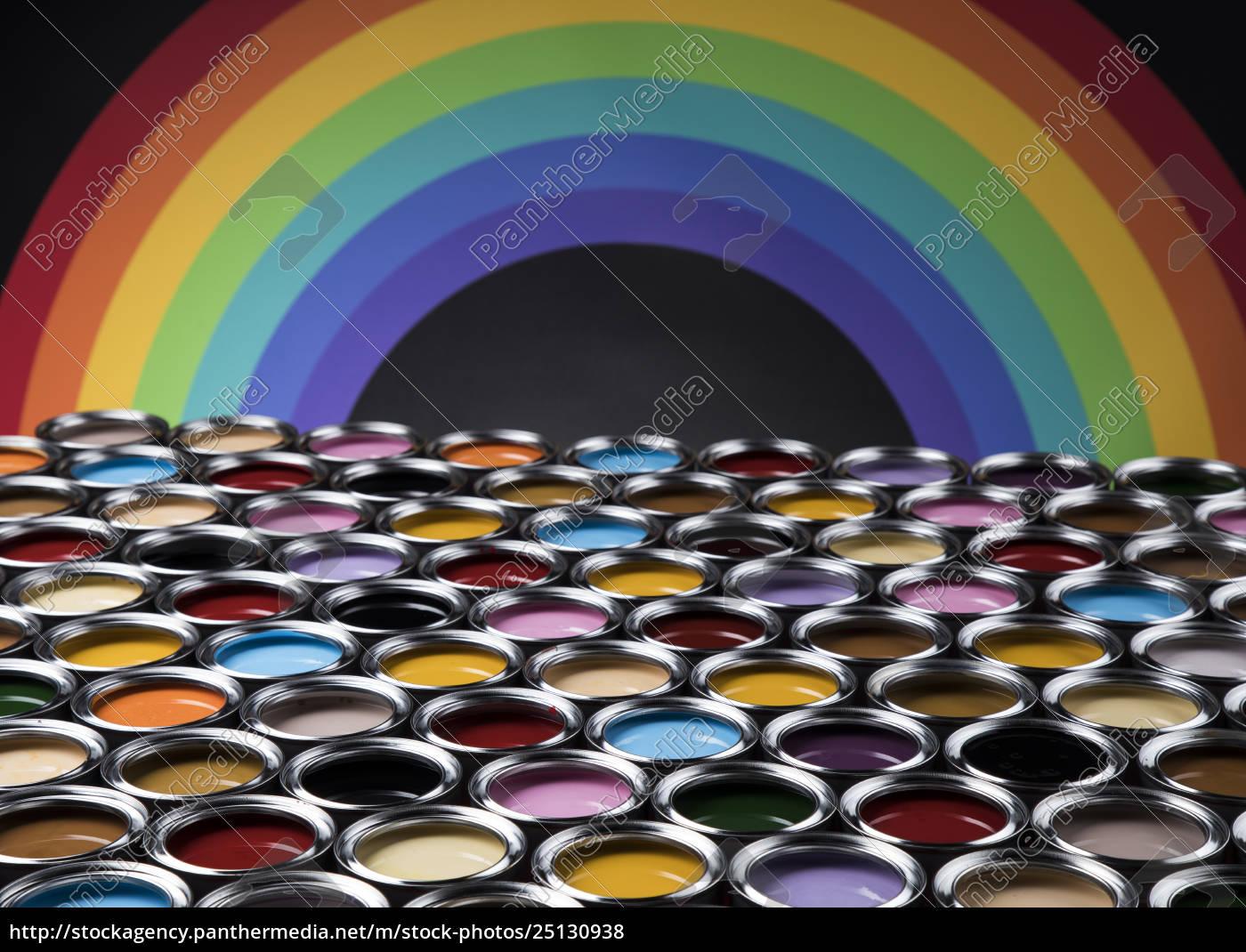 rainbow, colors, , group, of, tin, metal - 25130938