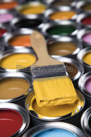 tin, metal, cans, with, color, paint - 25130746