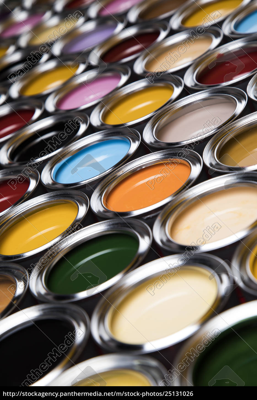 colorful, paint, cans, set - 25131026