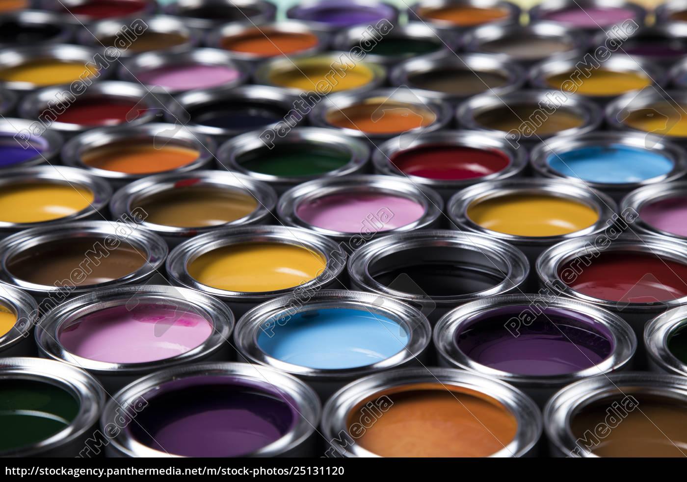 colorful, paint, cans, set - 25131120