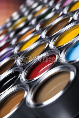 colorful, paint, cans, set - 25131176