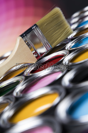 colorful, paint, cans, with, paintbrush - 25131716