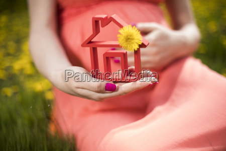 home, , meadow, , spring, , young, beautiful, pregnant - 25131020