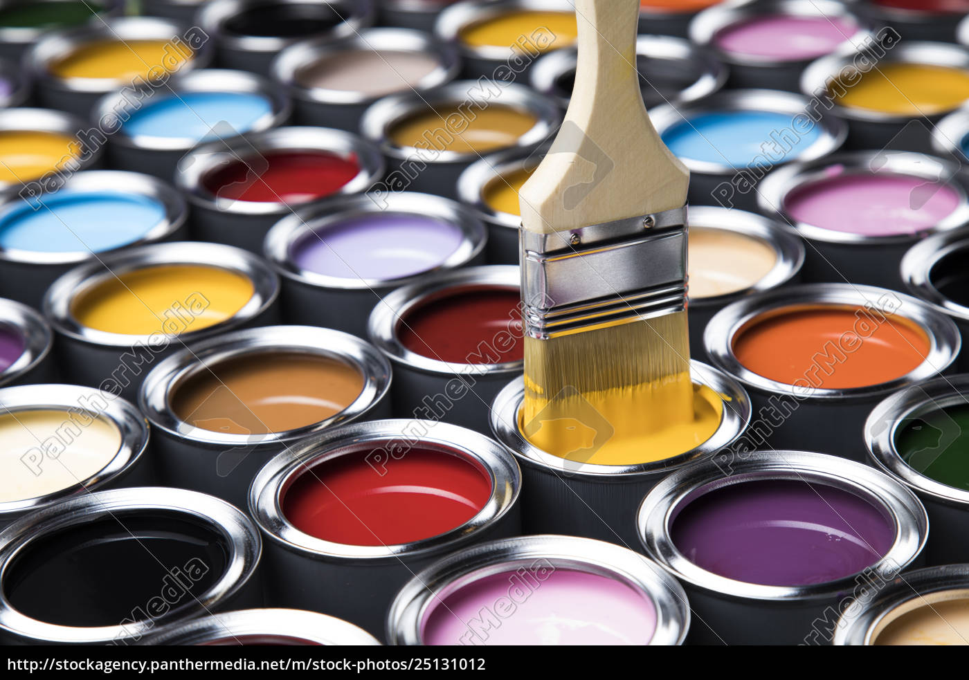 paintbrush, on, cans, with, color - 25131012