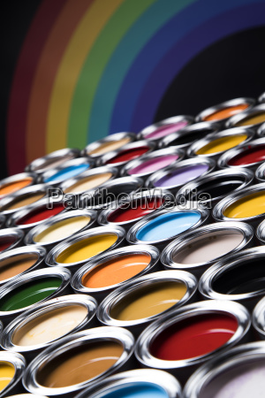 rainbow, colors, , group, of, tin, metal - 25131638