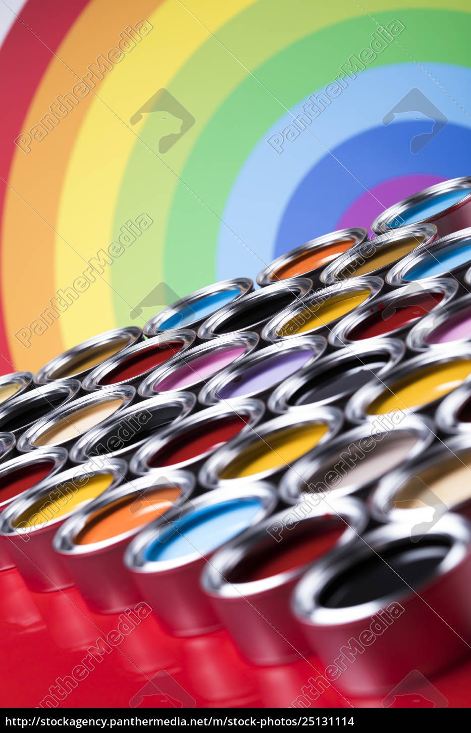 rainbow, colors, , open, cans, of, paint - 25131114