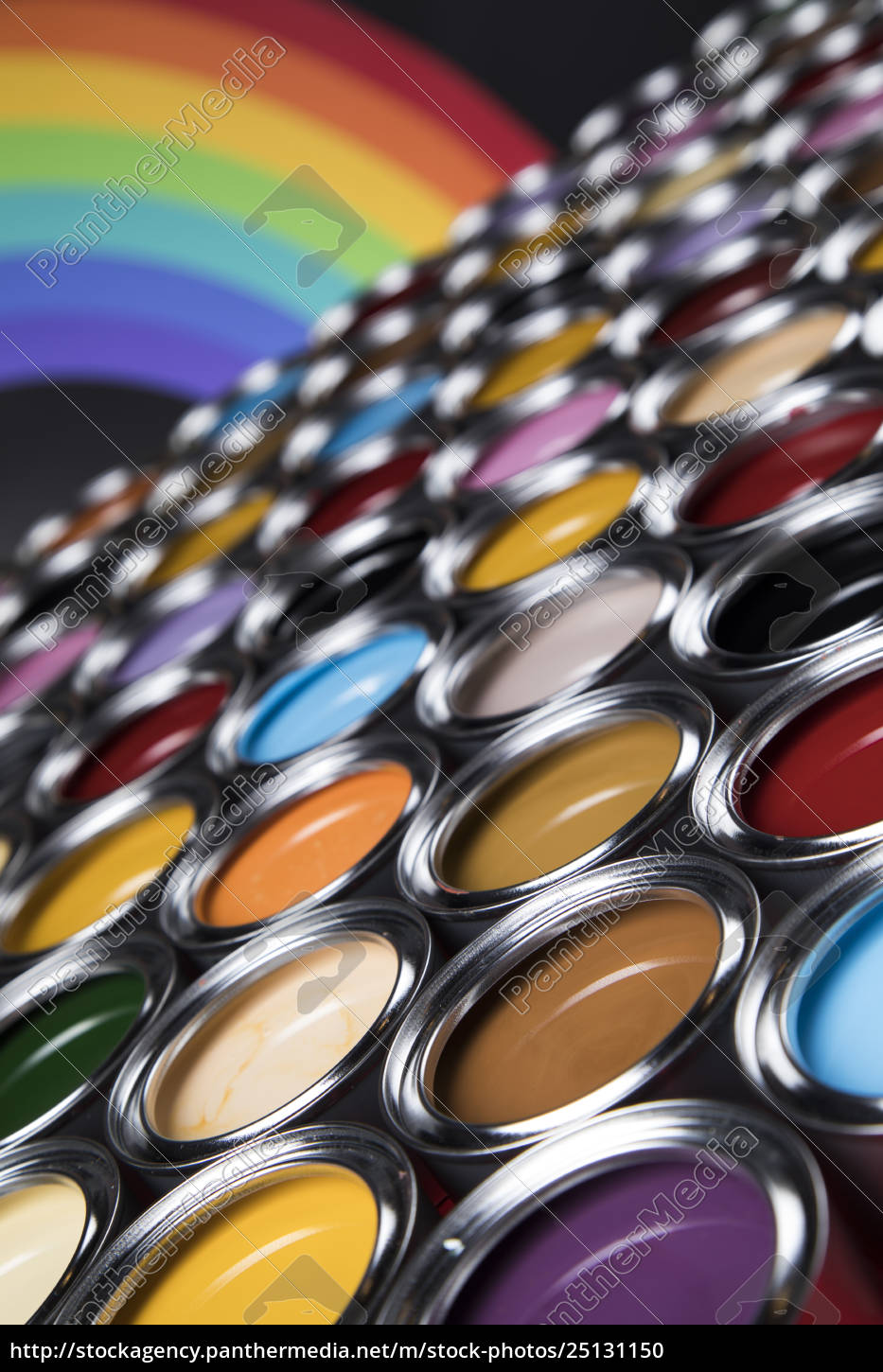rainbow, colors, , open, cans, of, paint - 25131150