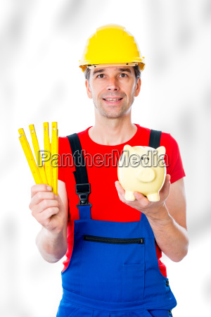 friendly worker with yardstick and piggy
