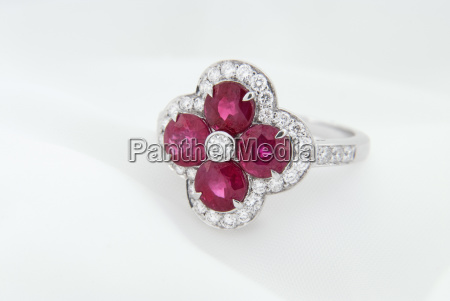 white gold ring with rubies and