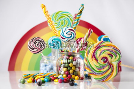 mixed colorful sweets lollipops and candy