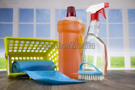 house, cleaning, product, on, wood, table - 25135126
