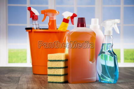 house, cleaning, product, on, wood, table - 25135140