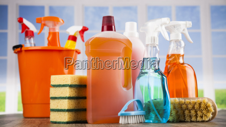 house, cleaning, product, on, wood, table - 25135638