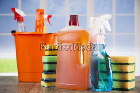 house, cleaning, product, on, wood, table - 25135694