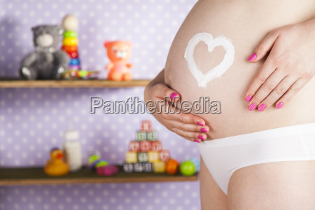 pregnant, woman, loving, heart, her, baby - 25135474