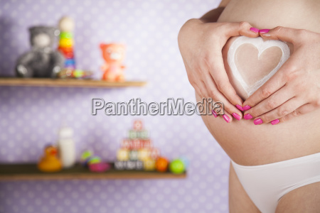 pregnant, woman, loving, heart, her, baby - 25135820