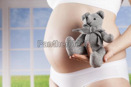 teddy, bear, and, happy, pregnant, woman - 25135208