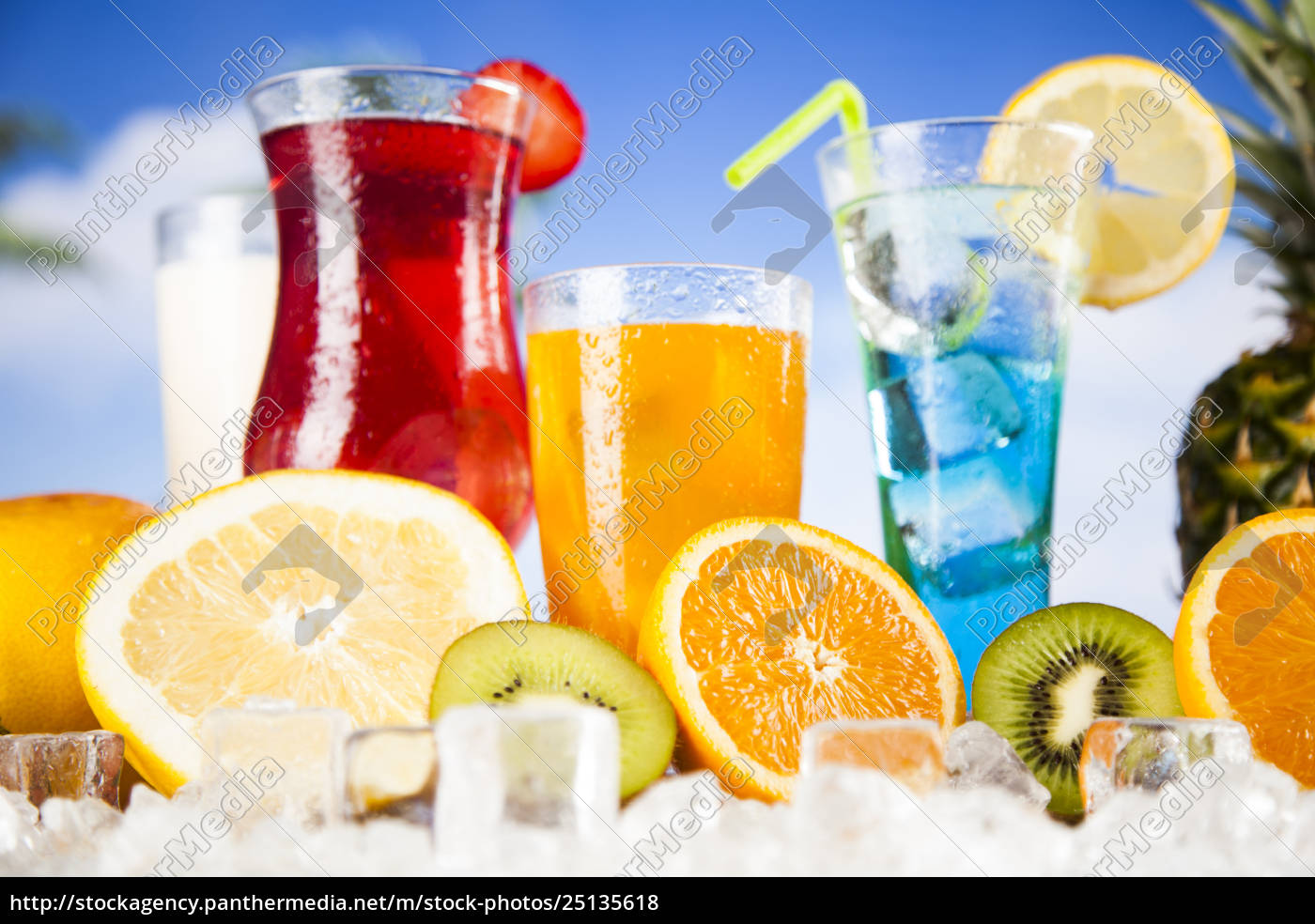 tropical, cocktails, set - 25135618